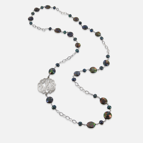 Fresh Water Pearls Necklace with Sideways Silver Monogram