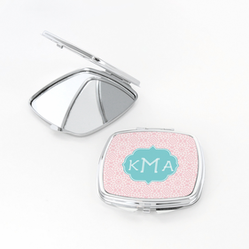 Geometric Design Monogram Square Shaped Compact Mirror