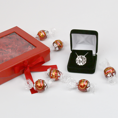 Gift Box with Monogram Necklace and Milk Lindor Truffles