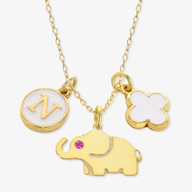 Girls Elephant Personalized Charm Necklace