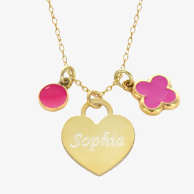 Girls Personalized Heart Charm Necklace