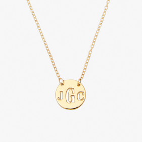 Gold over Silver Cut Out  Monogram Necklace