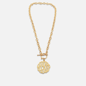 Gold over Silver Heavy Chain Monogram Necklace with Toggle Clasp
