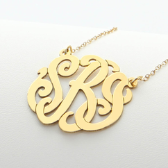 Yellow Gold over Silver Monogram Necklace