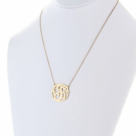 Gold over Silver Script Single Initial Necklace
