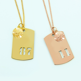 Gold Over Silver Sports Charm With Small Basketball Ball Pendant Personalized With Cutout Numbers