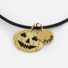 Halloween Themed Sterling Silver Name Necklace