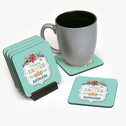 Happy Easter Personalized Coasters