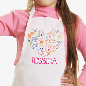 Happy Heart Personalized Kids Craft Apron