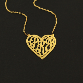 Heart Monogram Necklace in Sterling Silver