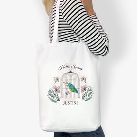 Hello Spring Customized Cotton Tote Bag