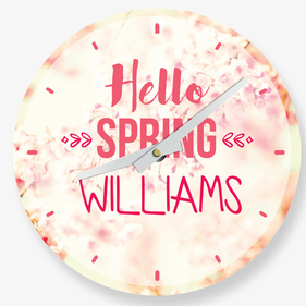 Hello Spring Personalized Wall Clock