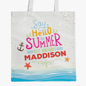 Hello Summer Personalized Large Tote Bag