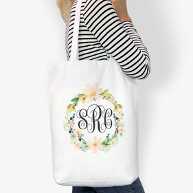 Hibiscus Reef Monogrammed Cotton Tote Bag