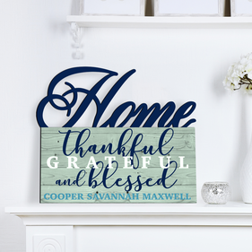Grateful Home Custom Name Wall Sign