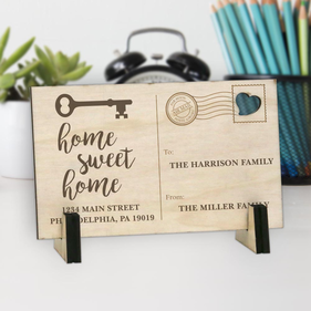 Home Sweet Home Personalized Wood Postcard
