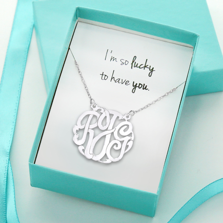 I'm So Lucky To Have You Monogram Necklace Gift Boxed