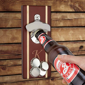 Initial Custom Walnut Magnetic Bottle Opener