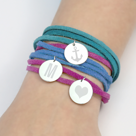 Initial Silver Charm Bracelet with Flat Suede Leather Wrap Cord