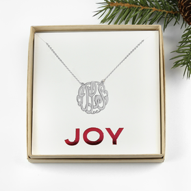 Sterling Silver Monogram Necklace Joy Gift Boxed