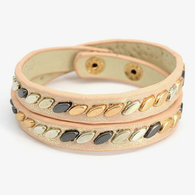 Leather Studded Tanned Bracelet