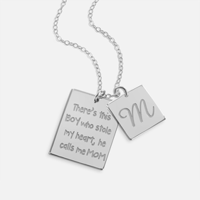 Love for Son Necklace Personalized with Initial