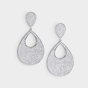 Micro Pave Tear Drop Earrings in Sterling Silver