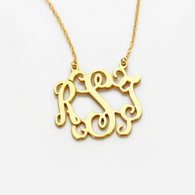 Modern Monogram Necklace in Gold over Silver