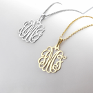 Modern Monogram Necklace in Silver