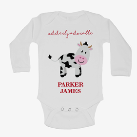 Monogram Baby Udderly Adorable Long Sleeve One-Piece Bodysuit
