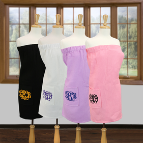 Monogram Waffle Bath Wrap Towels with Pocket