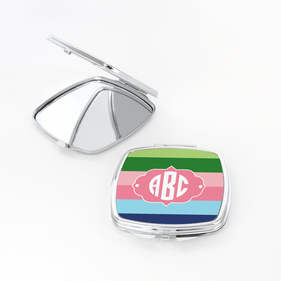 Monogram Color Stripes Square Shaped Compact Mirror