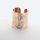 Monogram Cuff Ring in Silver
