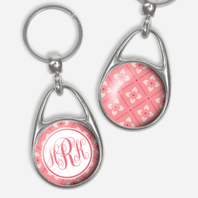 Monogram Floral Pressed Key Chain