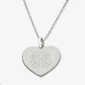 Monogram Heart Sterling Silver Necklace