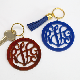 Acrylic Monogram Key Chain with Tassel