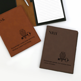 Monogram Leatherette Portfolio with Notepad