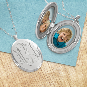 Custom Engraved Monogram Locket Necklace with Matte Finish