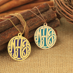 Monogram Necklace with Color Finish