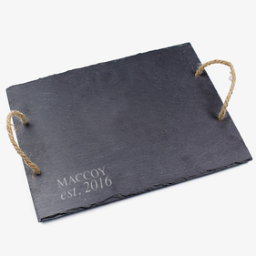Monogram Slate Tray With Jute Hanger