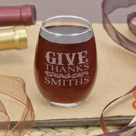 Give Thanks Personalized Stemless Wine Glass