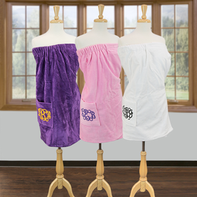 Monogram Terry Bath Spa Wrap with Pocket