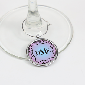 Monogram Wine Glass Charm Personalized