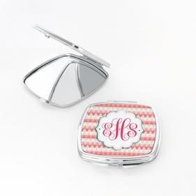 Monogram Zigzag Design Square Shaped Compact Mirror