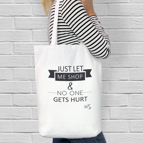 Just Let Me Shop Custom Cotton Tote Bag