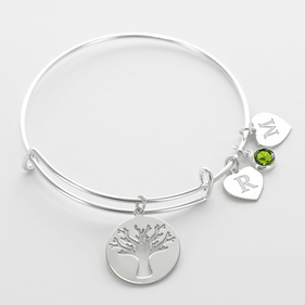 Life Tree Birthstone Charm Bangle