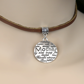 Mother's Inspirational Leather Choker Charm Necklace
