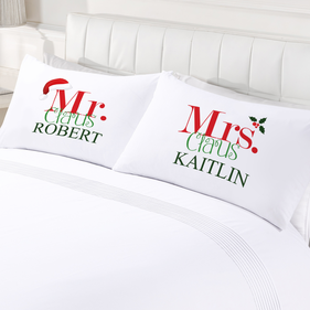 Mr. and Mrs. Claus Personalized Couples Pillow Cases