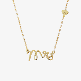 Mrs Gold Over Sterling Silver Personalized Necklace