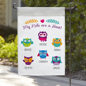 My Kids Are A Hoot Personalized Garden Flag